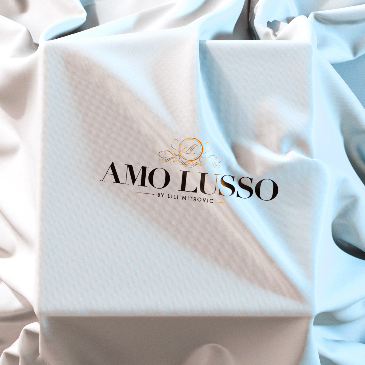 Branding, logo design, web design, social media marketing art, catalogue, stationery & package design for Amo Lusso bridal atelier by Lili Mitrovic.